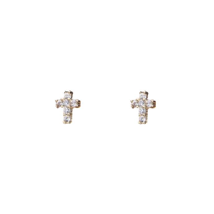 Croix Tiny Zircon Cross Stud Earrings