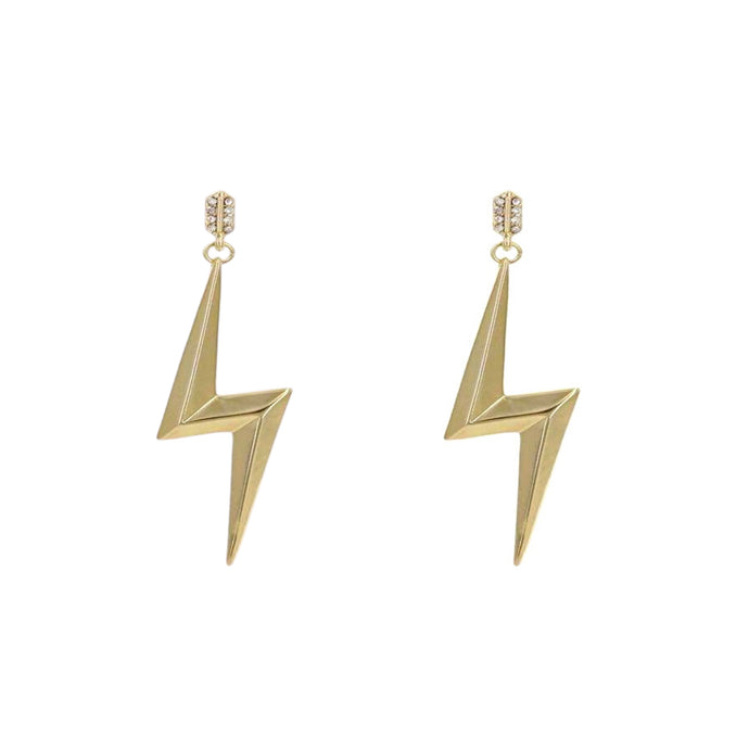 Eclair Gold Bolt Stud Earrings