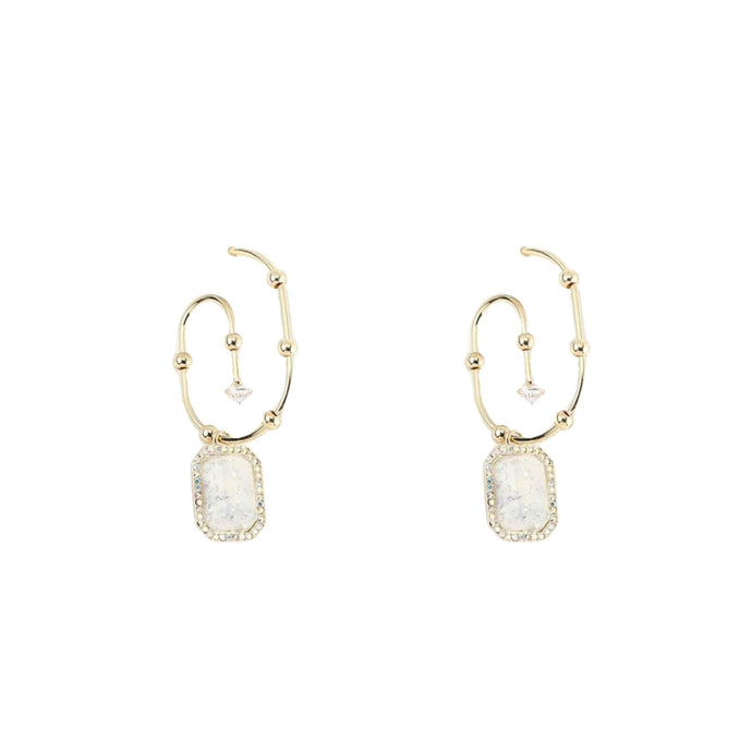 Gemma Zircon Gemstone Stud Earrings (Beige)