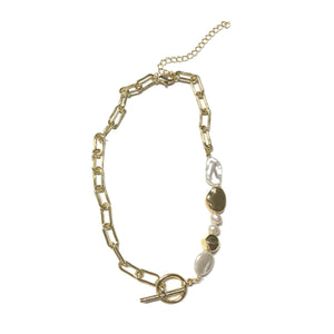 Solaro Pearl Beaded Link Chain Necklace