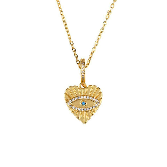 Lover Heart Eye Gold Chain Necklace