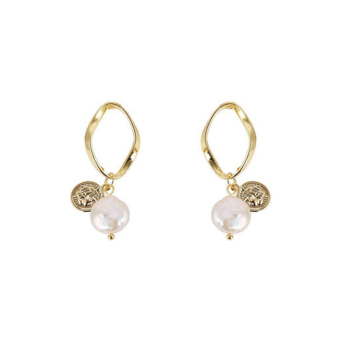 Merci Coin + Pearl Stud Earrings