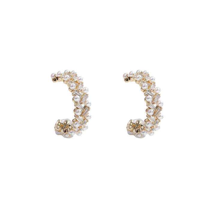 Solana Zircon Pearl Hoop Earrings