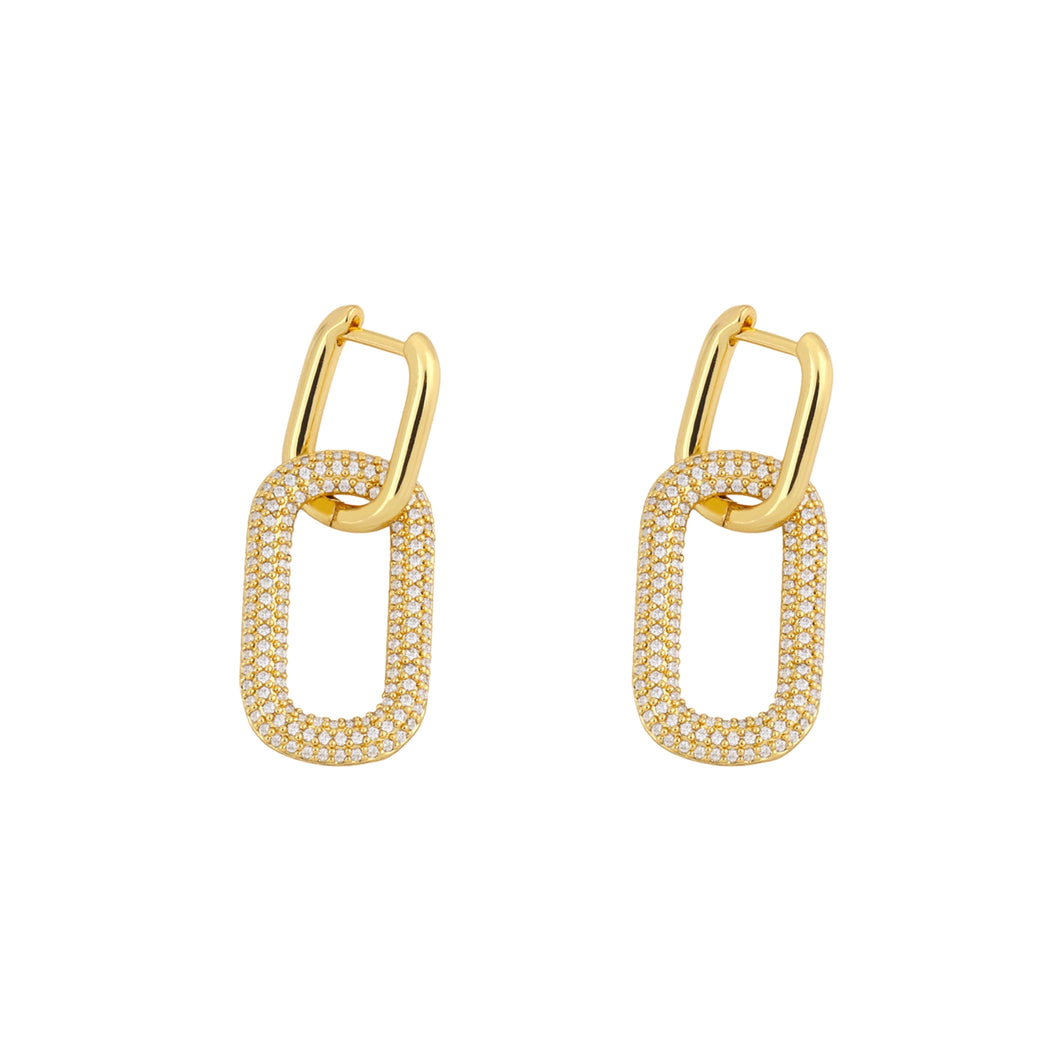 Sutton Zircon Link Huggie Earrings