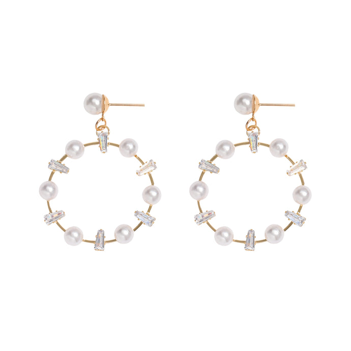 Femme Pearl + Zircon Round Stud Earrings