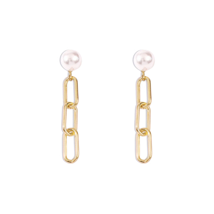 Naya Pearl Chain Stud Earrings