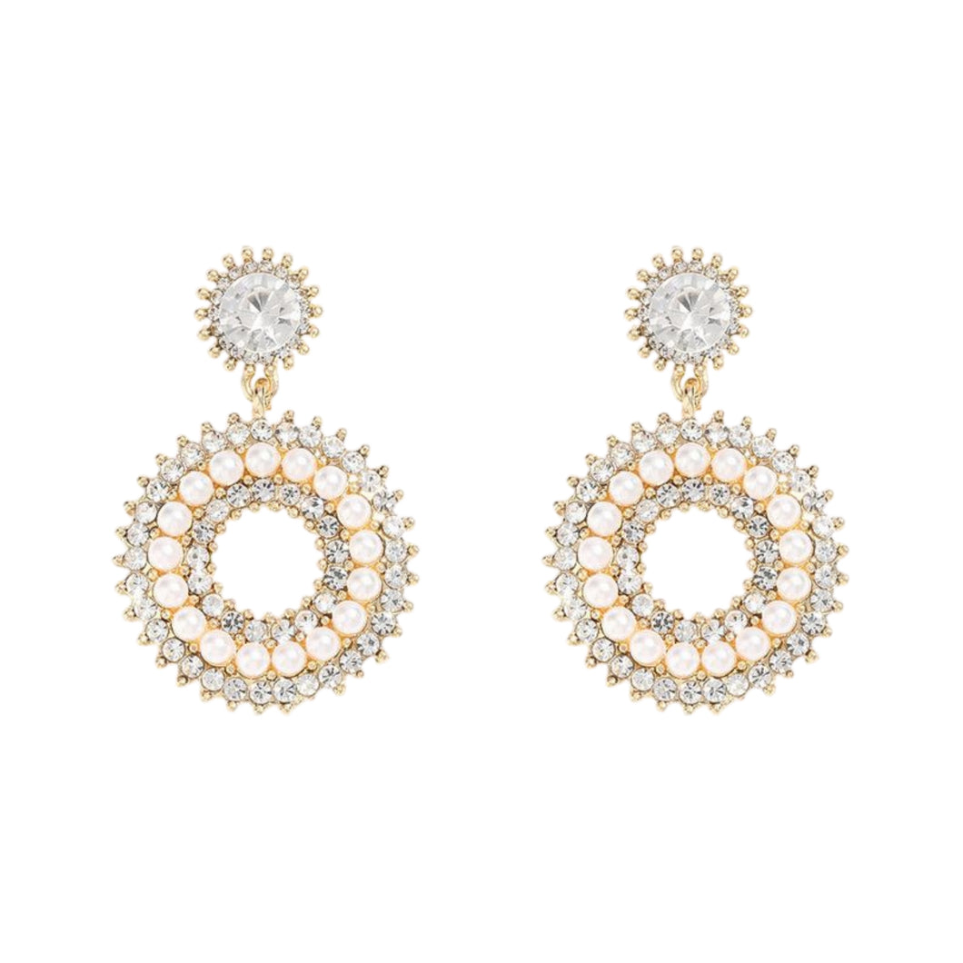 Lotte Round Pearl + Zircon Stud Earrings