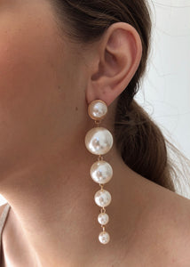 Valerie Pearl Chain Stud Earrings