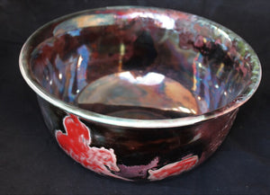 Raku Fired Cutting Horse Bowl