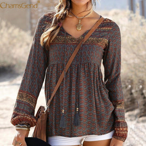 Bohemian Holiday Fall New Casual Lady Daily Shift Tops - AmericanGalore