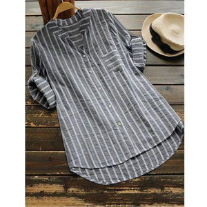 Casual 3/4 Sleeve Stripes Linen Shirts Tops AmericanGalore Black S