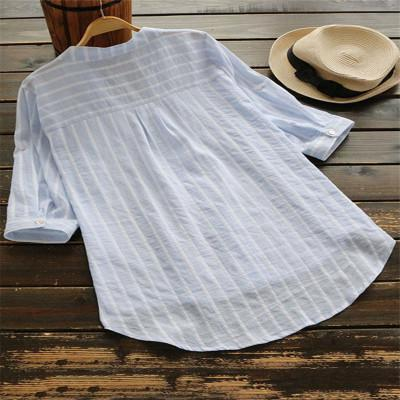 Casual 3/4 Sleeve Stripes Linen Shirts Tops AmericanGalore Light Blue S