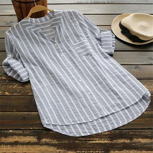 Casual 3/4 Sleeve Stripes Linen Shirts Tops AmericanGalore Light Grey S