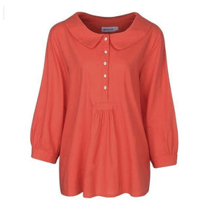 Casual Solid Lapel Collar Cropped Sleeve Shirts Tops AmericanGalore Orange S