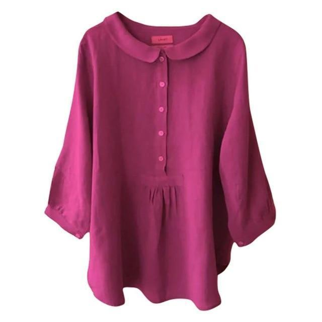 Casual Solid Lapel Collar Cropped Sleeve Shirts Tops AmericanGalore Rose Red S
