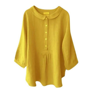 Casual Solid Lapel Collar Cropped Sleeve Shirts Tops AmericanGalore Yellow S