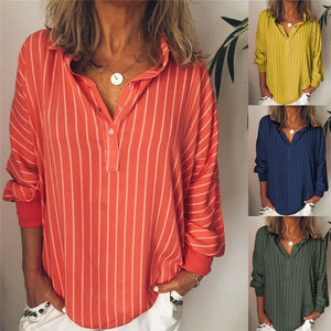 Casual Turndown Collar Striped Long Sleeve Printed Shirts AmericanGalore