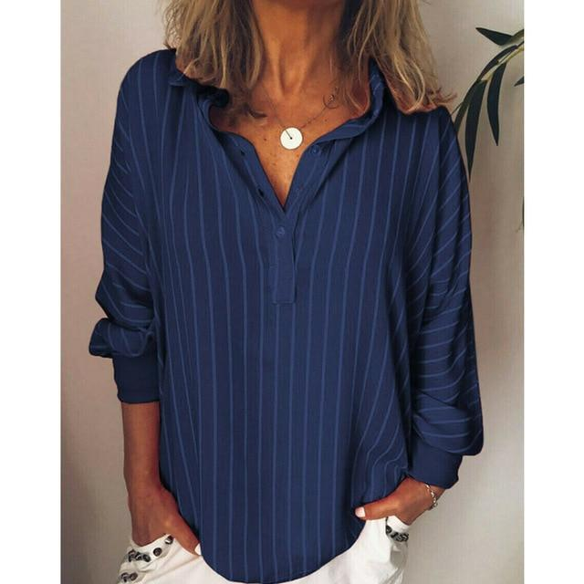 Casual Turndown Collar Striped Long Sleeve Printed Shirts AmericanGalore Blue L