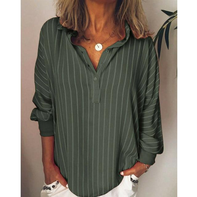 Casual Turndown Collar Striped Long Sleeve Printed Shirts AmericanGalore Green L