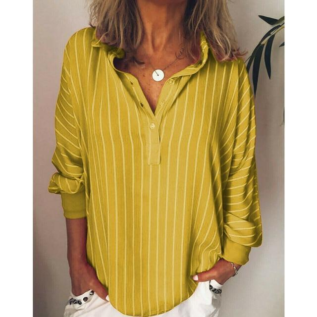 Casual Turndown Collar Striped Long Sleeve Printed Shirts AmericanGalore Yellow L