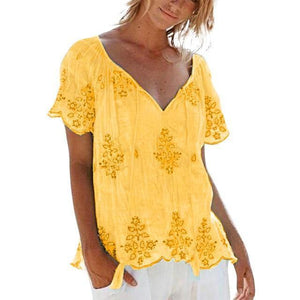 Casual V Neck Summer Printed Plus Size Tops AmericanGalore Yellow XXL