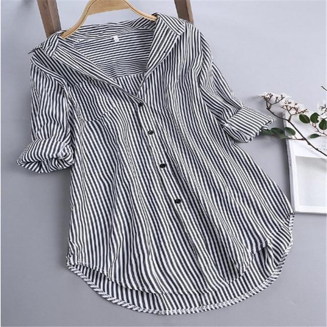 Chic Stripe Long Sleeve Turn-down Collar Loose Shirts AmericanGalore