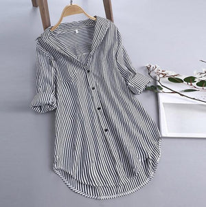 Chic Stripe Long Sleeve Turn-down Collar Loose Shirts AmericanGalore Black S