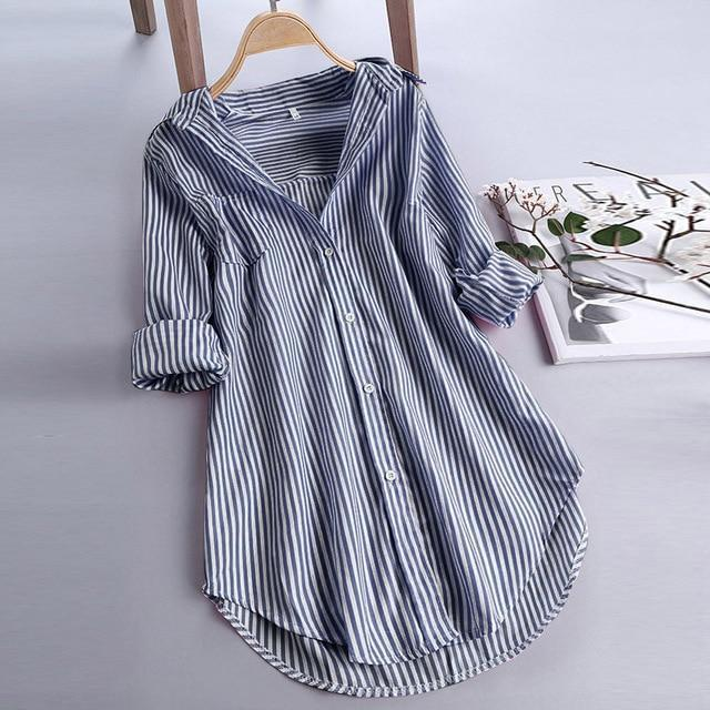Chic Stripe Long Sleeve Turn-down Collar Loose Shirts AmericanGalore Navy XXL