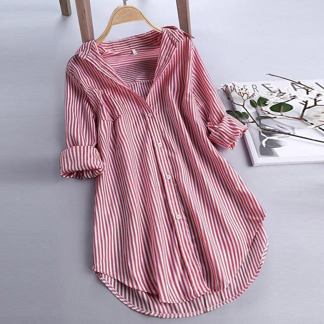 Chic Stripe Long Sleeve Turn-down Collar Loose Shirts AmericanGalore Red S