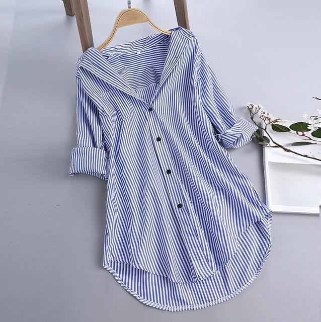 Chic Stripe Long Sleeve Turn-down Collar Loose Shirts AmericanGalore Sky Blue S