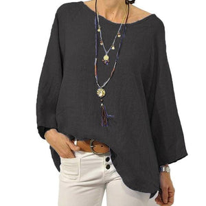 Crew Neck Solid Blouse Casual Tops - AmericanGalore