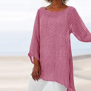 Crew Neck Striped Fashion Holiday Casual Lady Daily Shift Tops - AmericanGalore