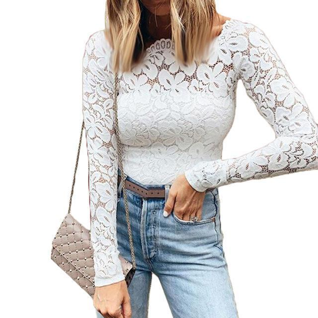 Fall Solid Sexy Lace Women Go-Out Shirts & Tops - AmericanGalore