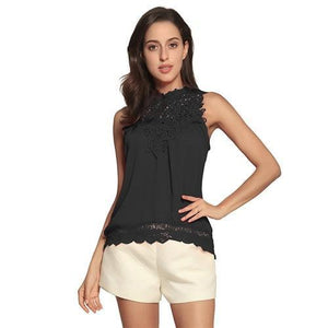 Fashion Lace Solid Sleeveless Crew Neck Blouses Tops - AmericanGalore