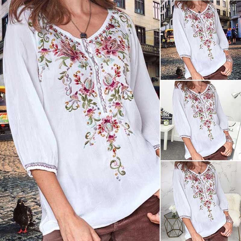 Floral-print Long Sleeve Buttoned Shirts & Tops - AmericanGalore