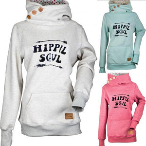 Hippie Soul Solid Women Pocket Hoodie Sweater Shirts & Tops - AmericanGalore