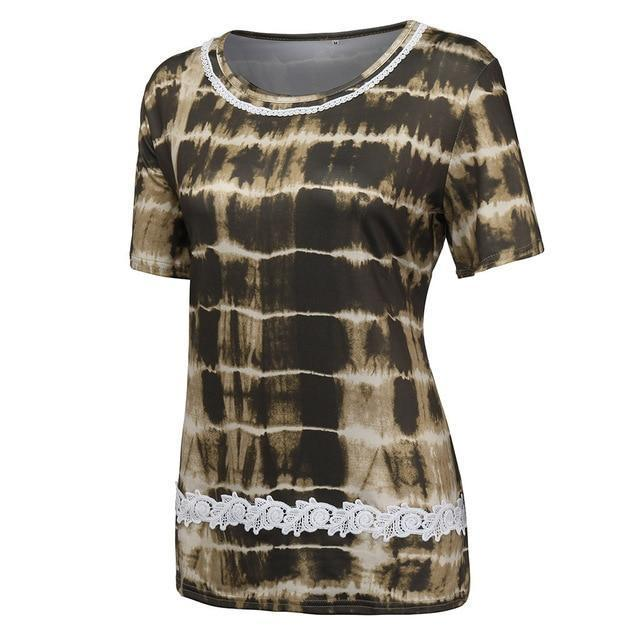 Irregular Printed Women Plus Size Tops - AmericanGalore
