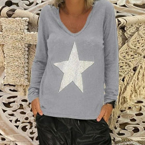 Long Sleeve Fall New Fashion Holiday Casual Lady Daily Shift Tops AmericanGalore Gray S