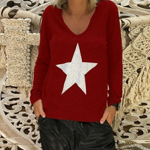 Long Sleeve Fall New Fashion Holiday Casual Lady Daily Shift Tops AmericanGalore Red S