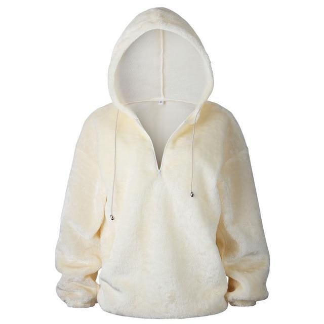 Long Sleeve Hoodie Sweatshirt Hooded Jumper Sweater Pullover Tops Coat AmericanGalore Beige S