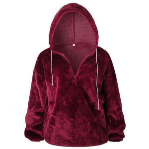 Long Sleeve Hoodie Sweatshirt Hooded Jumper Sweater Pullover Tops Coat AmericanGalore Wine red S