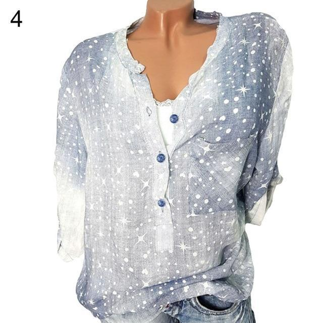 Long Sleeve Pockets Printed Shirts Tops AmericanGalore Blue S