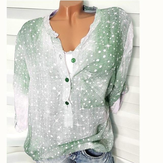 Long Sleeve Pockets Printed Shirts Tops AmericanGalore Green S
