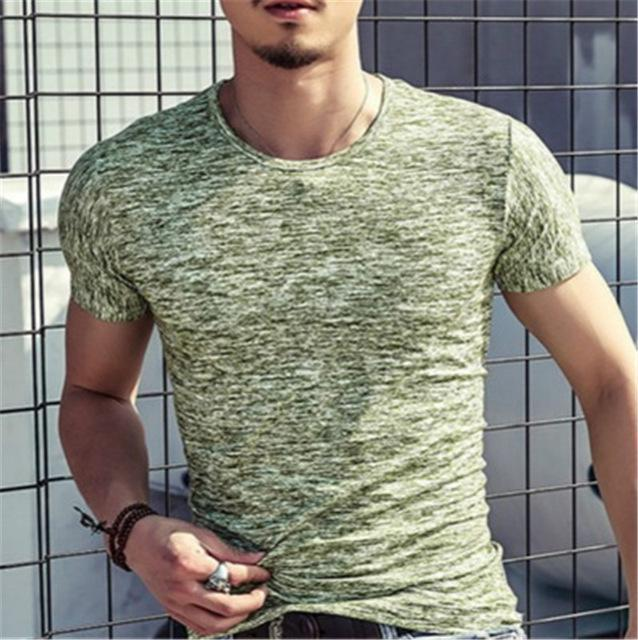 Men's Slim Fit Round Neck Short Sleeve T-Shirt Casual Tops - AmericanGalore