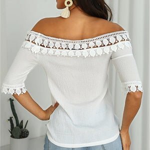 Midi-sleeve Off-shoulder White Elegant Blouses Tops - AmericanGalore