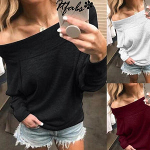 One Shoulder Sexy Solid Tops Holiday Fall Daily Casual Blouse - AmericanGalore