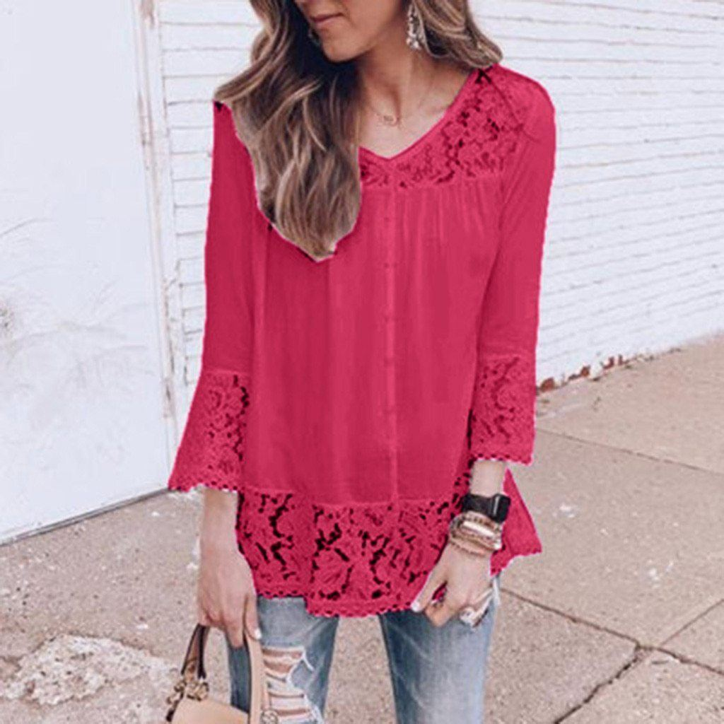 Plus Size 3/4 Sleeve Lace Solid LooseTops Holiday Fall Daily Casual Blouse AmericanGalore