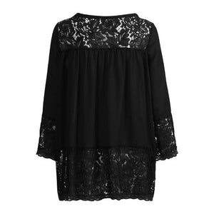 Plus Size 3/4 Sleeve Lace Solid LooseTops Holiday Fall Daily Casual Blouse AmericanGalore Black S