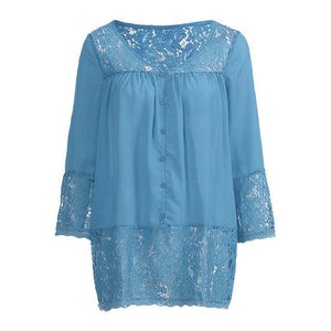 Plus Size 3/4 Sleeve Lace Solid LooseTops Holiday Fall Daily Casual Blouse AmericanGalore Blue S