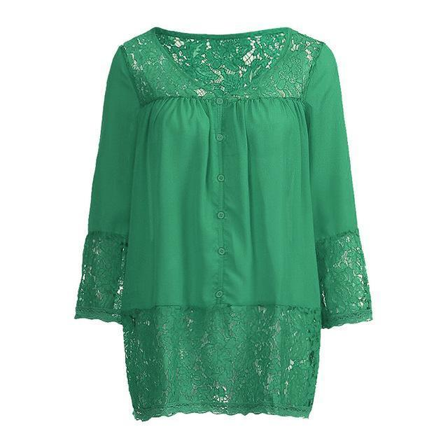 Plus Size 3/4 Sleeve Lace Solid LooseTops Holiday Fall Daily Casual Blouse AmericanGalore Green S